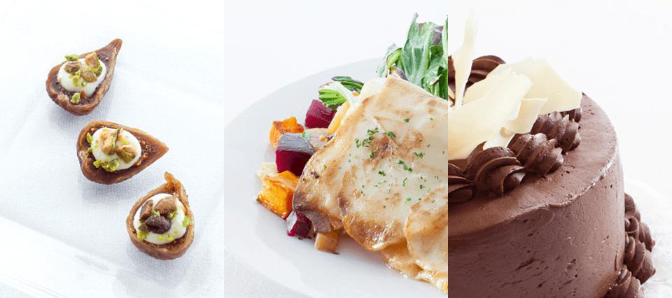 appetizers, entrees, dessert - executive cuisine