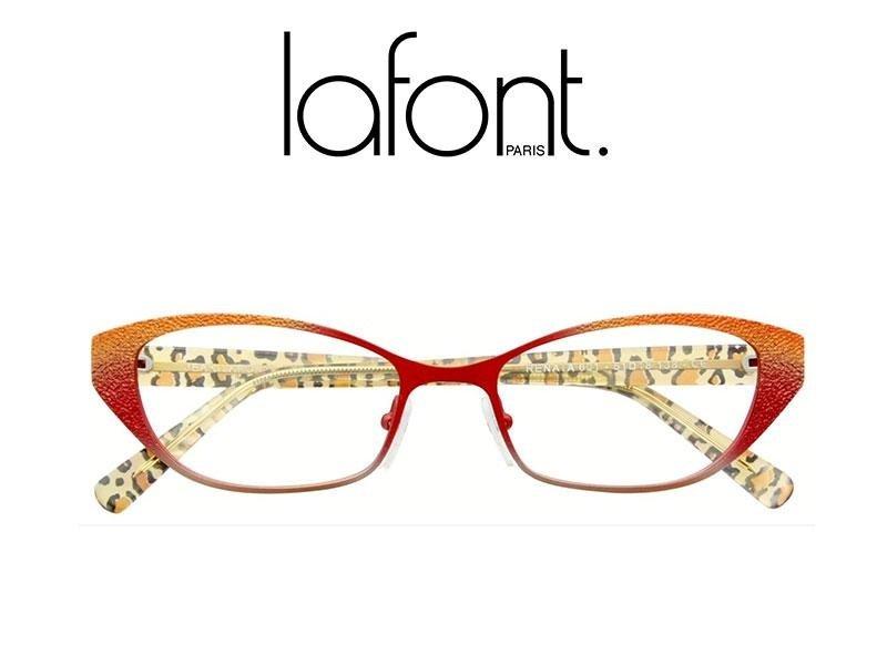 occhiali da vista di color arancione e leopardata