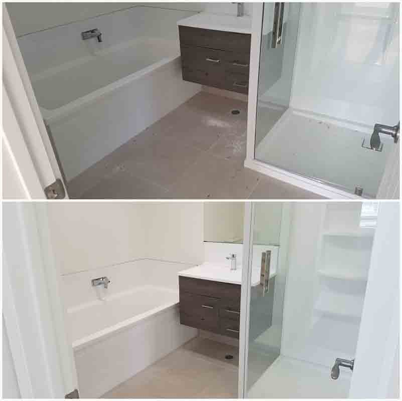 Before & after images of bathroom floor cleaning