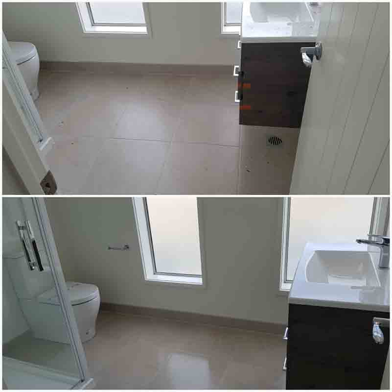 Before & after images of bathroom cleaning
