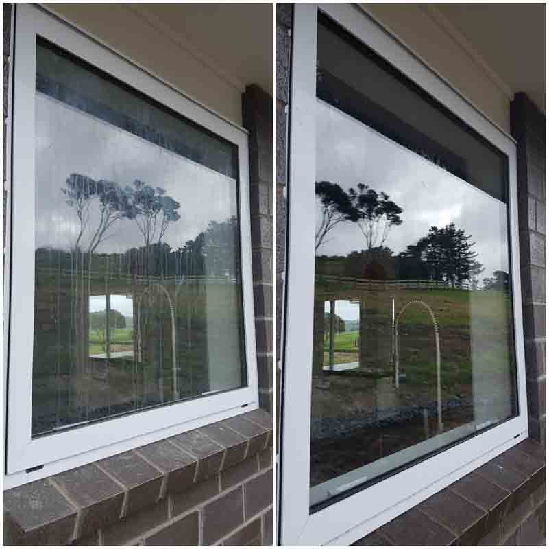 View of window before & after cleaning