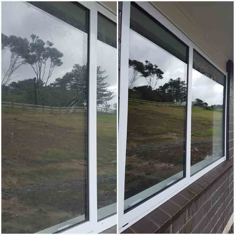 View of glass door before & after cleaning