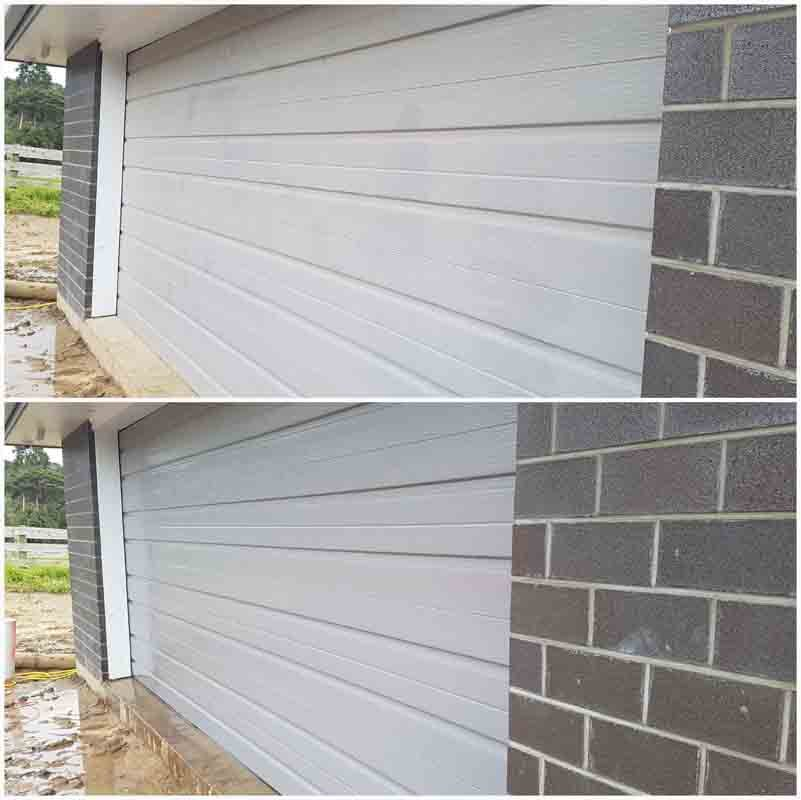 Before & after exterior wall view
