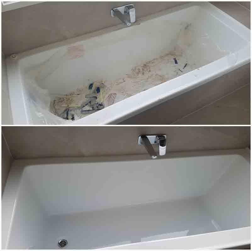 Bathroom tub cleaning