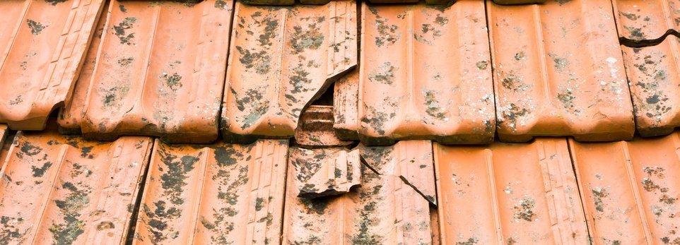 tegole rotte di un tetto