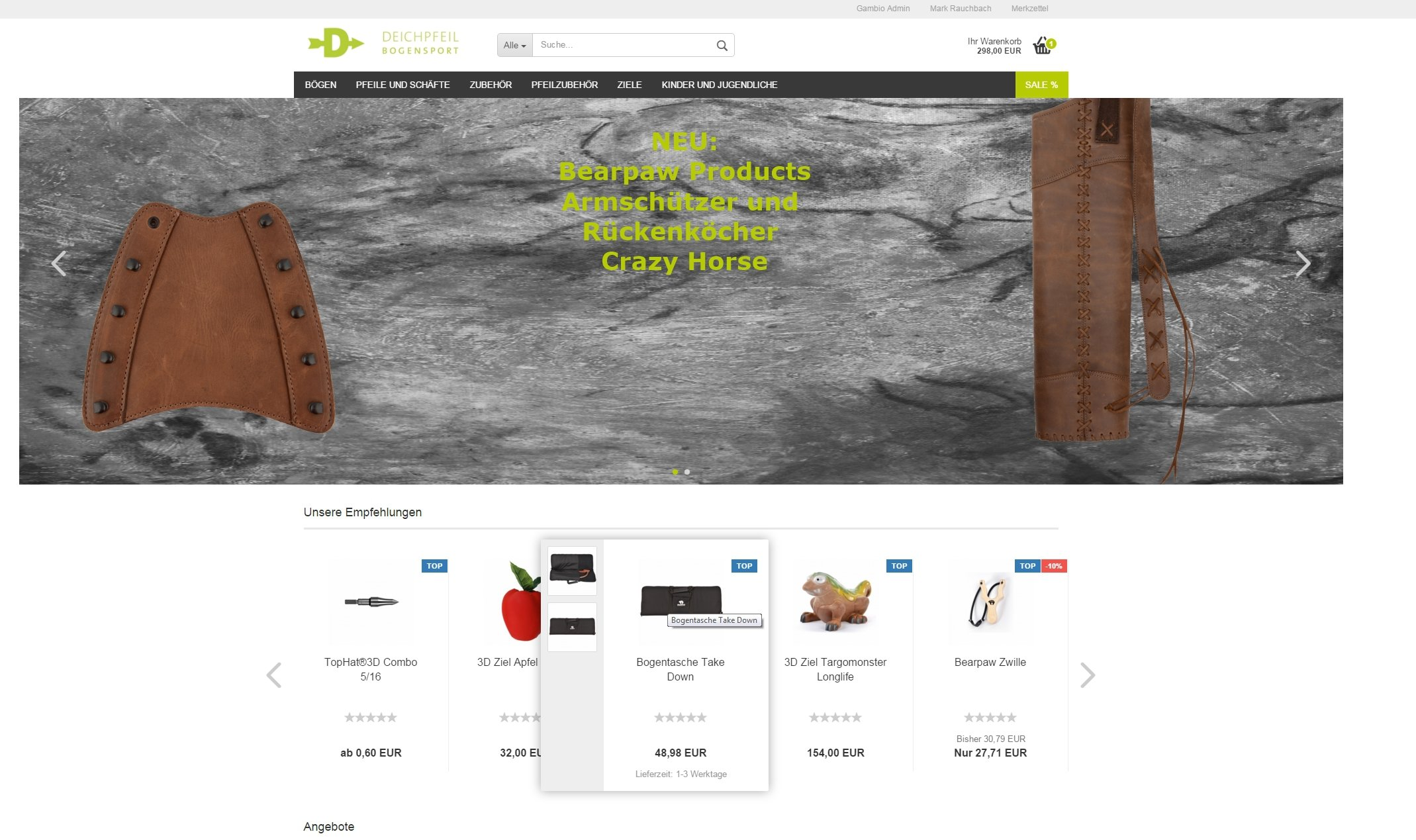 Onlineshop für Bogensportartikel Bearpaw Fachhändler