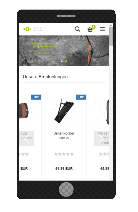 Online Shop in Smartphoneansicht