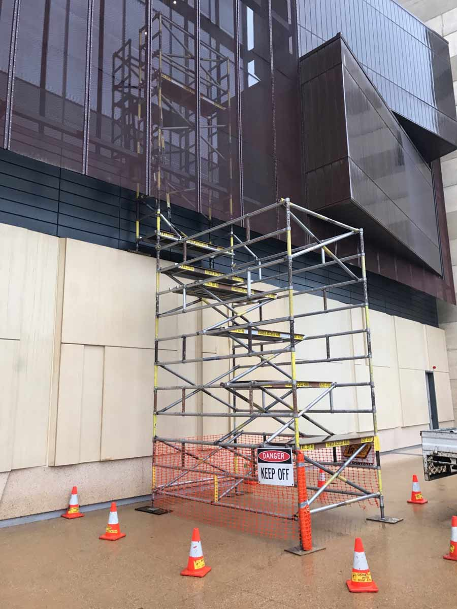 exterior scaffolding on a business