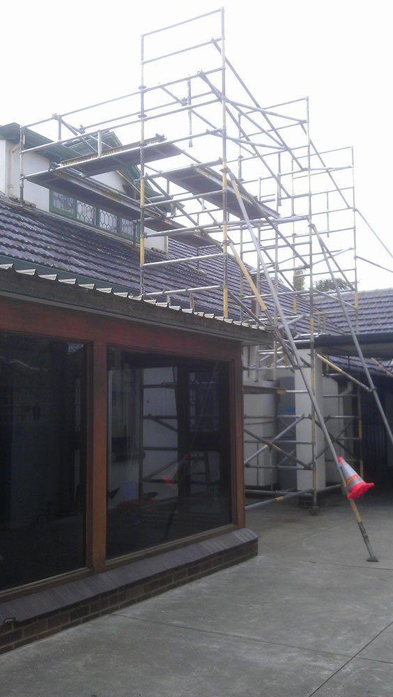 scaffolding on house roof