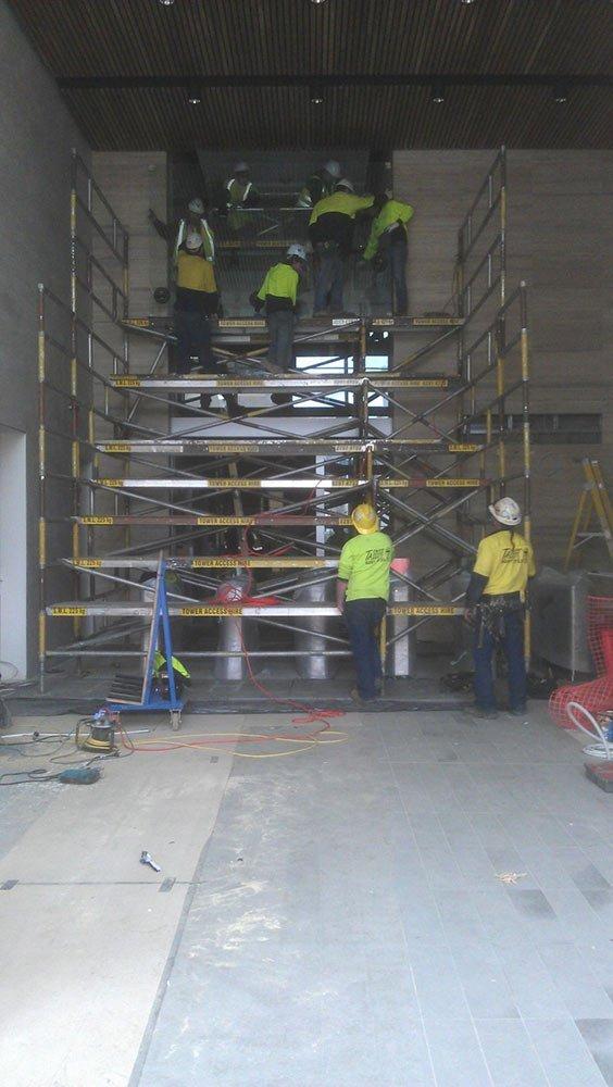 scaffolding inside building