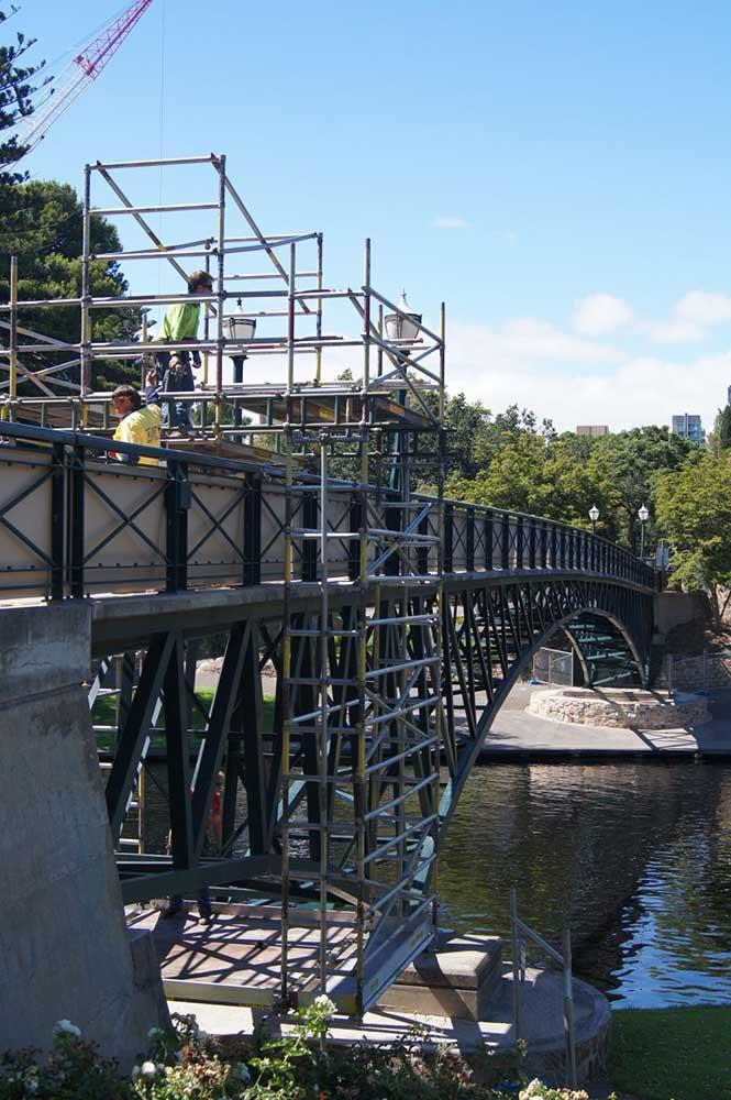 scaffolding on bridge