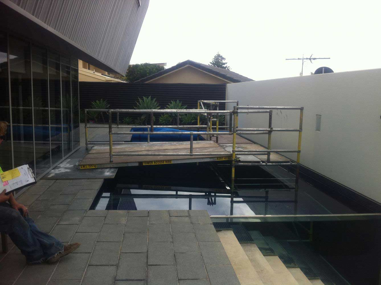 pool with scaffolding over it