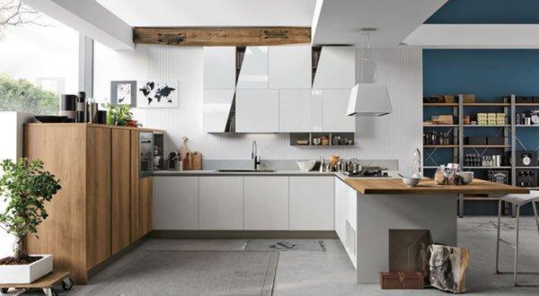 una cucina angolare di color bianco