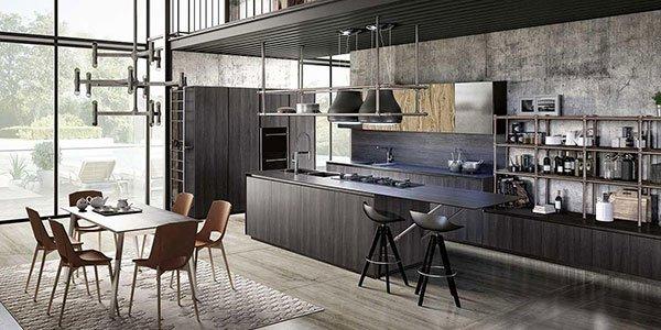 Grande cucina aperta progettata tipo bar