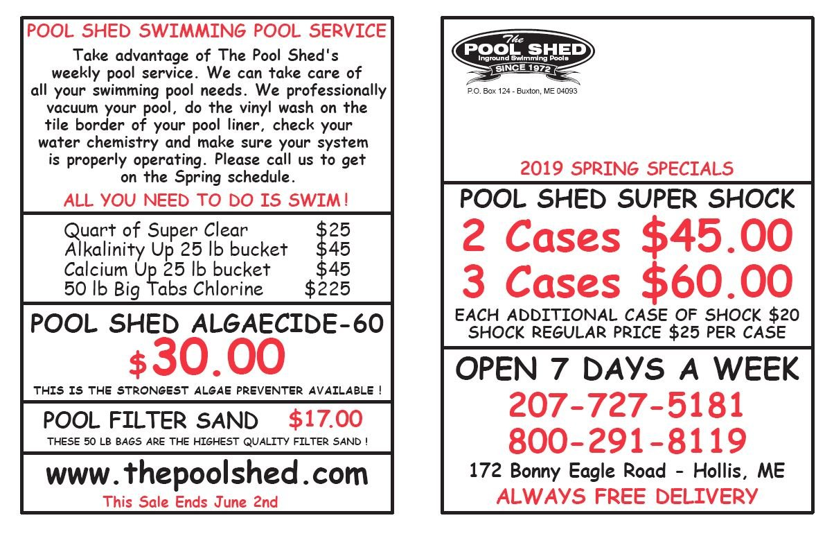 The Pool Shed - Buxton, ME - Specials