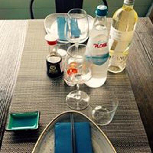 tavolo apparecchiato con calici di vino e acqua minerale