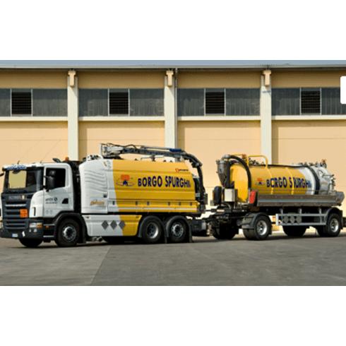 mezzi camion articolato attrezzato, veicoli con ultima generazione di macchinari, rimozione prodotti fangosi