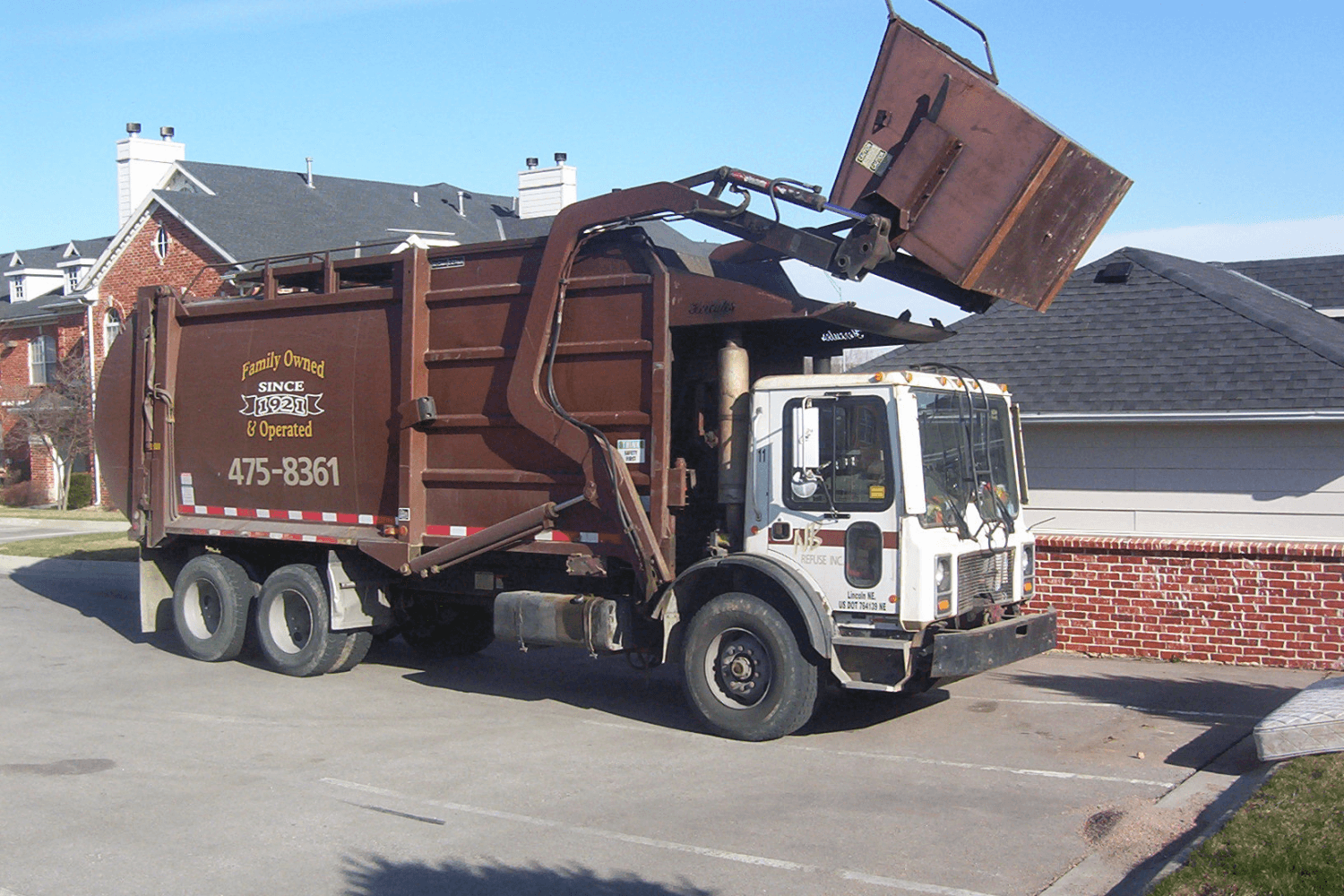 a commercial truck used for trash removal in Lincoln, NE