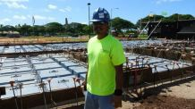 Isaiah Jiminez of Mr. T's Pest Control installs Termimesh to cluster of pens at this Wailupe Circle future residential home being built by Armstrong Builders.