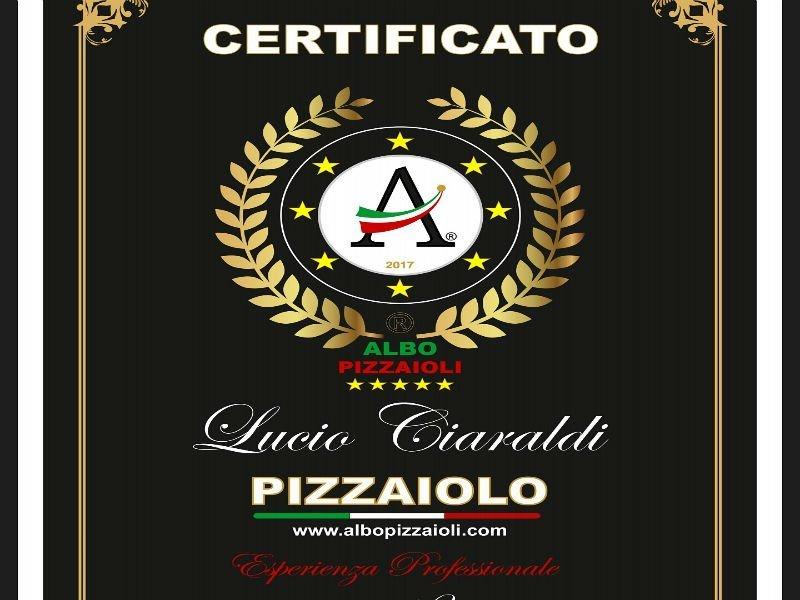 Certificato del corso di pizzaioli