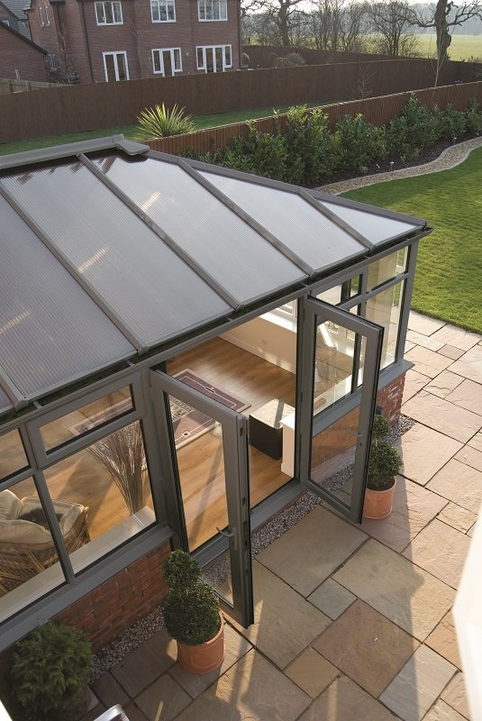 Conservatory with grey finish from Alexander Windows