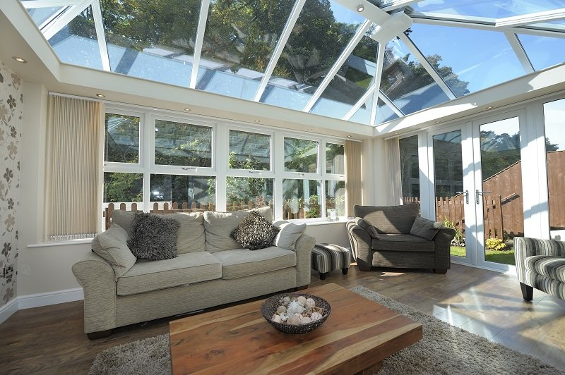 Classic white conservatory with glass roof