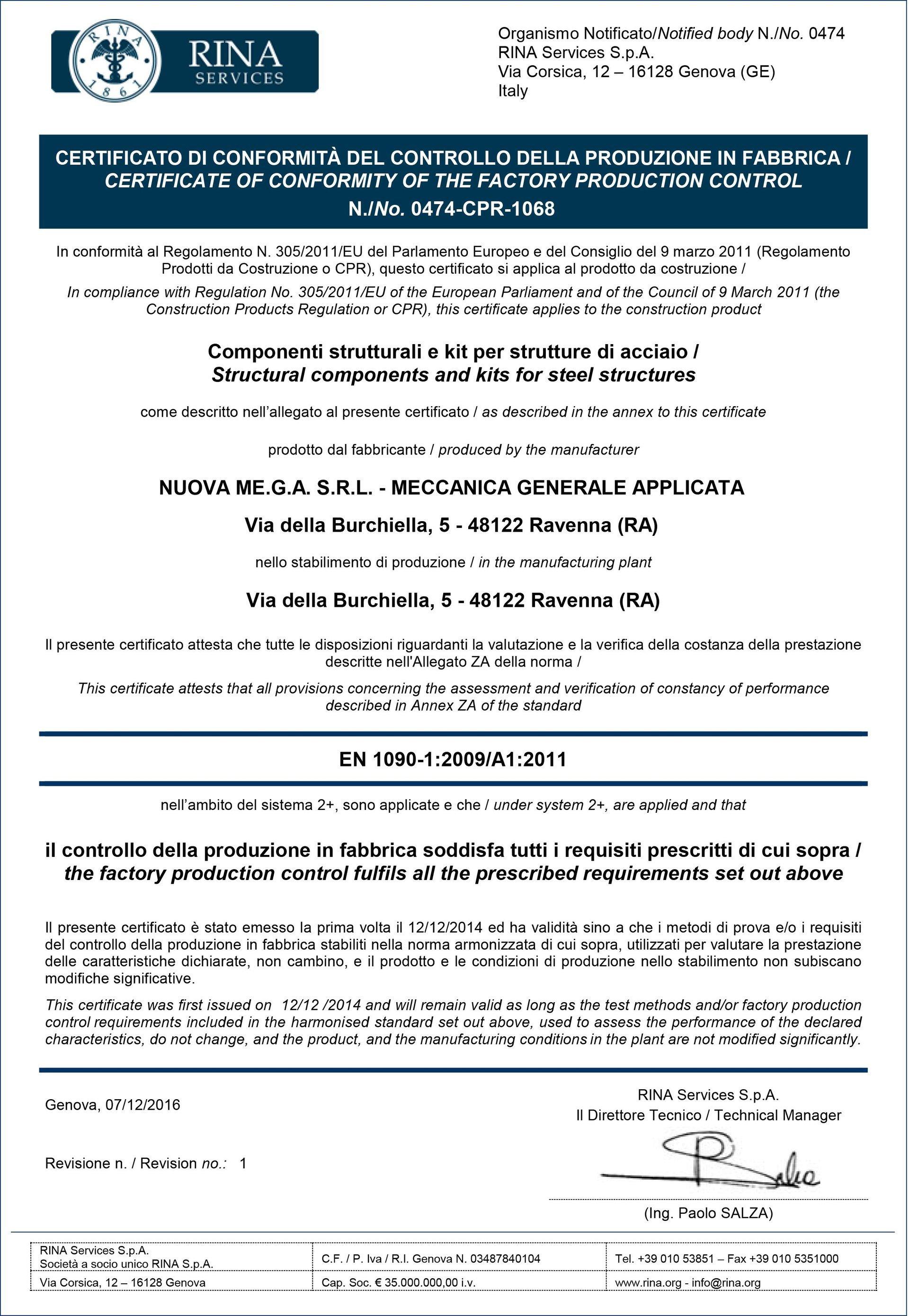Certificazione UNI EN 1090-1