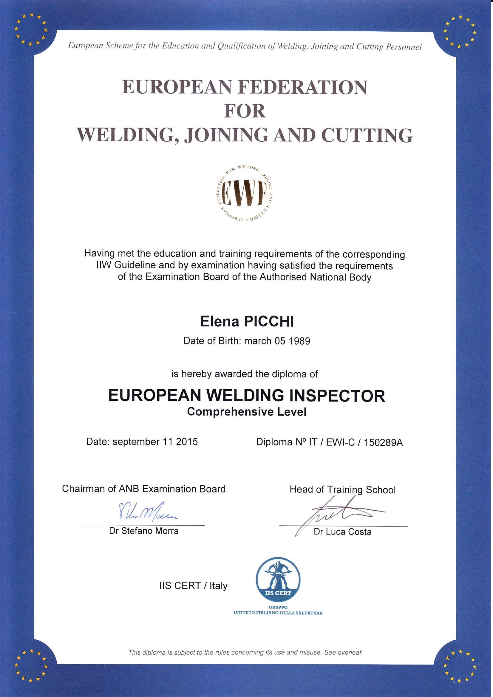 Certificato European welding inspector