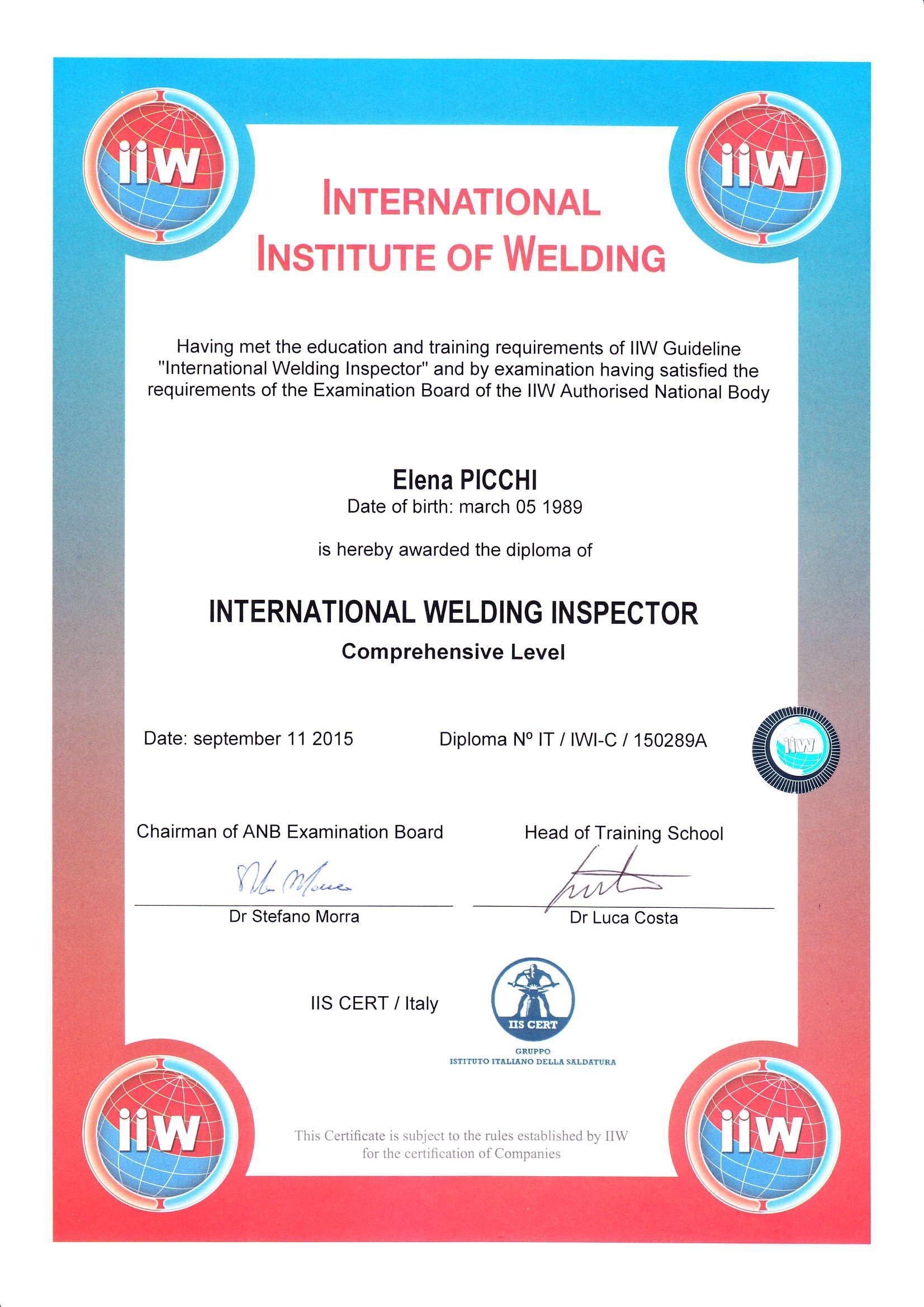Certificato International welding inspector