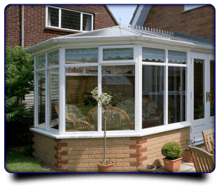 Modern looking conservatory with pale bricks