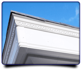 Close up image of white fascias and soffits
