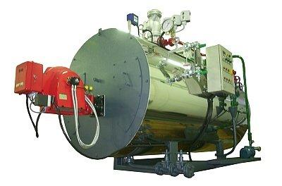 Modello STF 0 Generatore di vapore, tipo semifisso orizzontale a tubi da fumo a due o tre giri, pressurizzato.