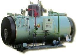 Generatore di vapore,modello GDP tipo semifisso orizzontale a tubi da fumo a tre giri, completo di duomo, pressurizzato.