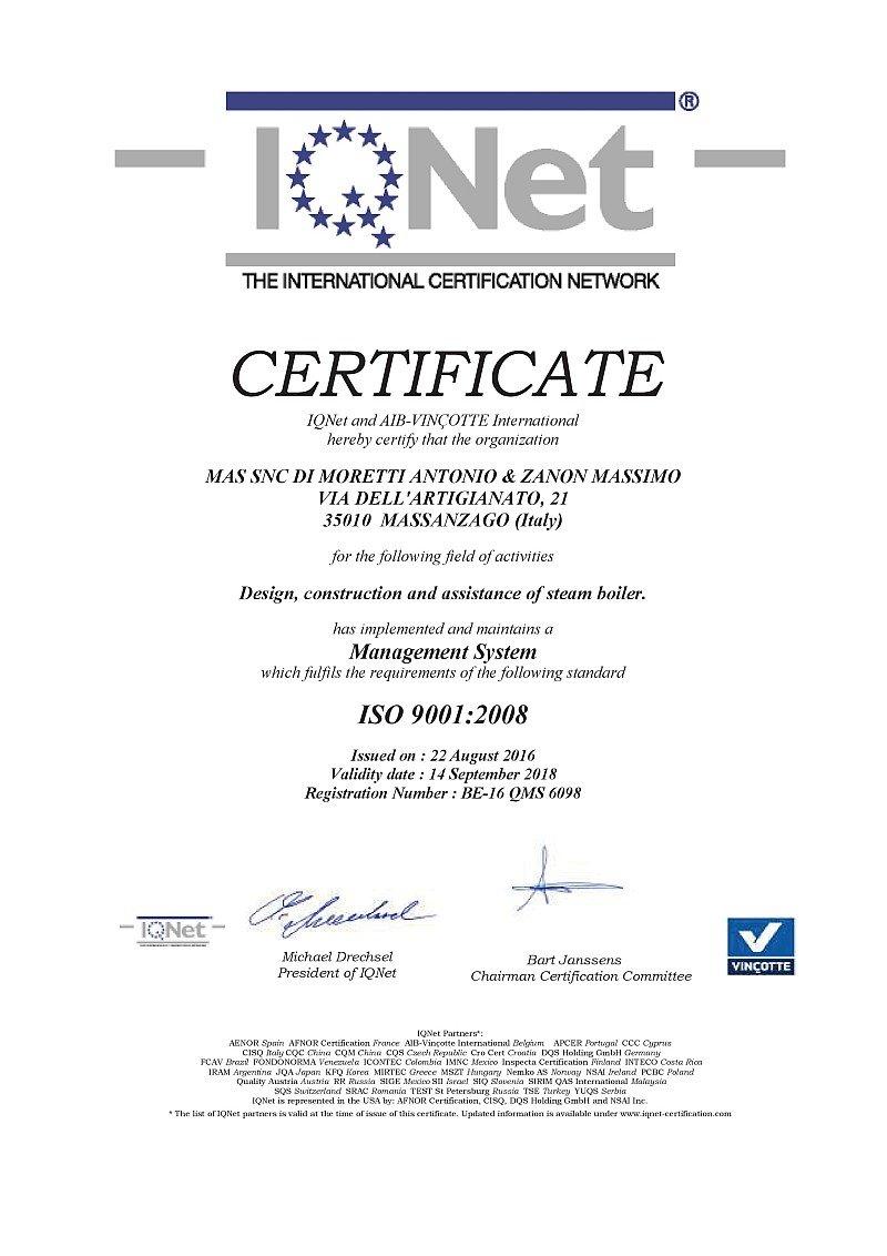 certificato internazionale IQNet