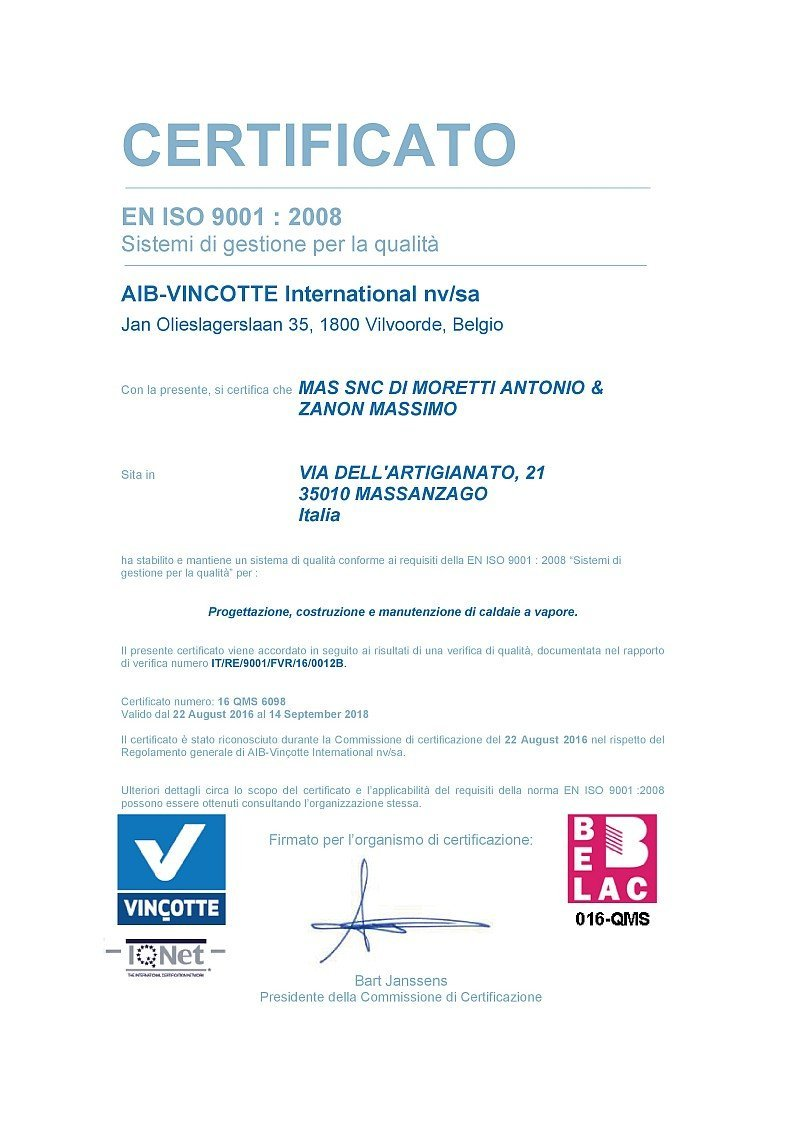 certificato EN ISO 9001 : 2008 in italiano
