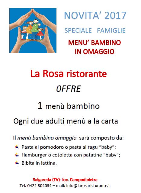 Novità 2017, Menù, Omaggio, Famiglie