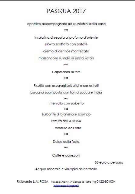 Pasqua, 2017, Menù, Pesce, Ristorante