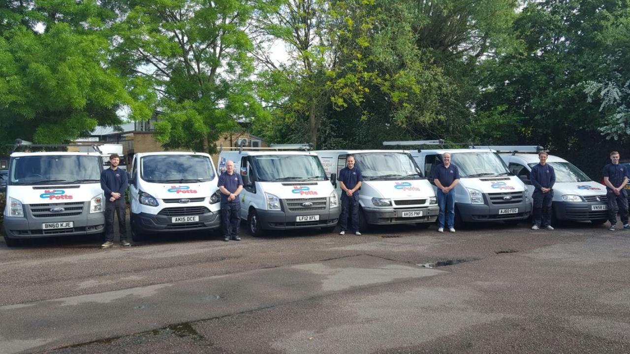 M J Potts Heating & Plumbing Services Ltd company vans