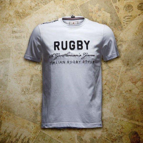 una maglietta di color bianco con scritto Rugby