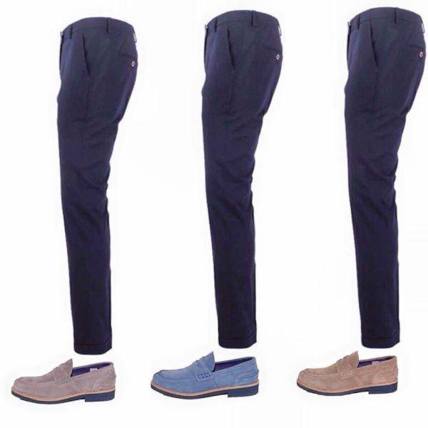 dei pantaloni da uomo e dei mocassini di color marrone e azzurro