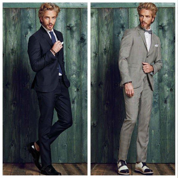 due immagini di un uomo in posa con dei completi di color nero e grigio chiaro