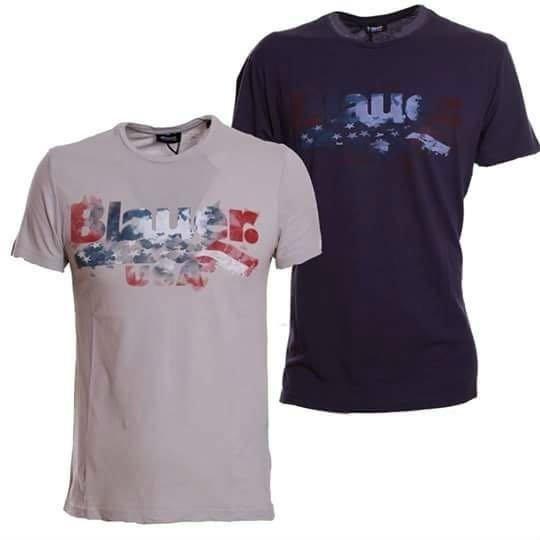 due magliette, una di color grigio e una  blu