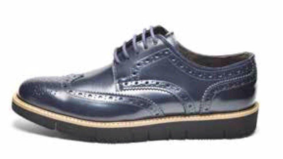una scarpa di pelle di color blu