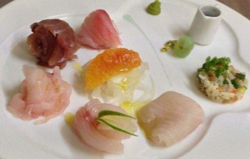 pesce crudo, branzino, orata, scampi, ristorante la colonna san nicolò