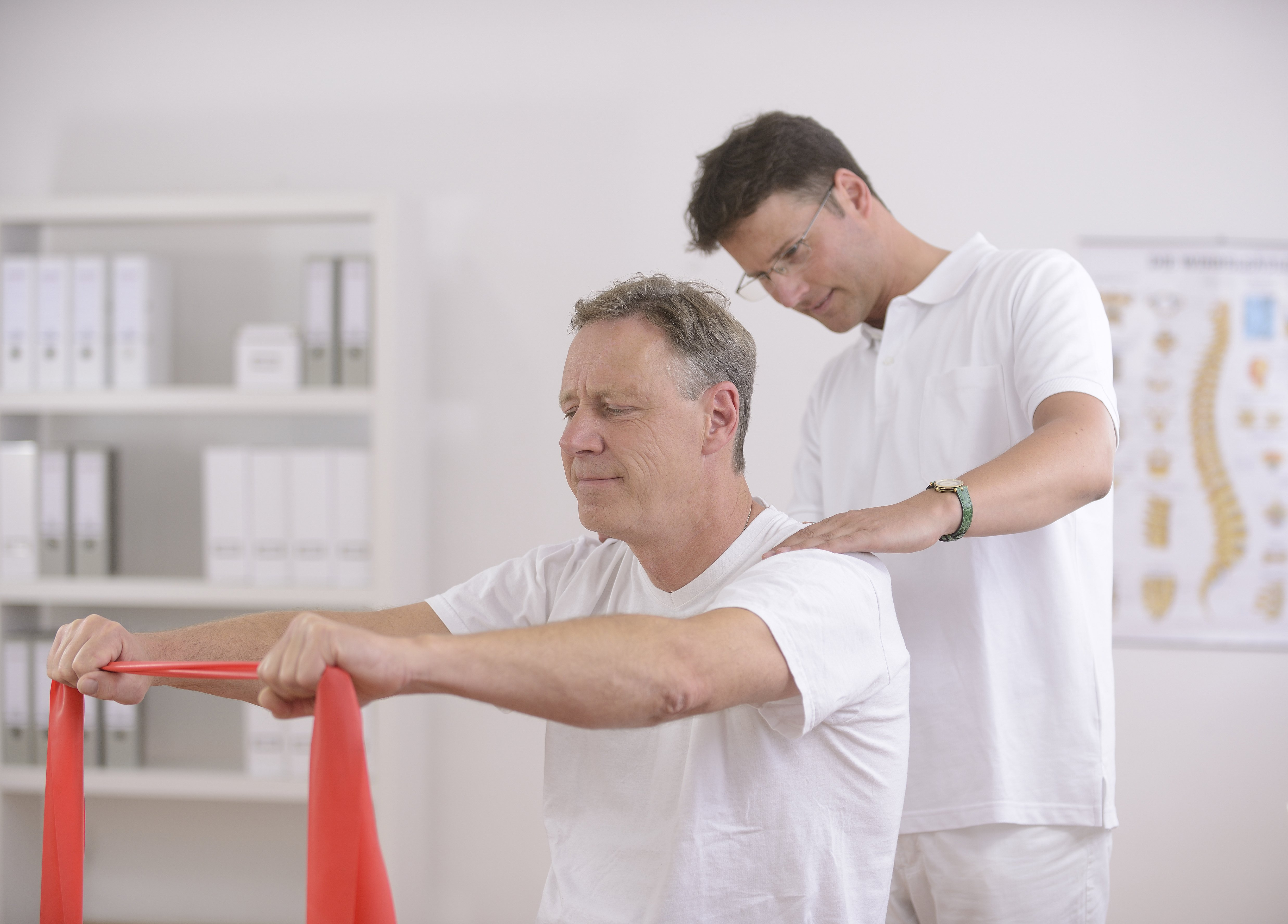 Chiropractor working with a patient