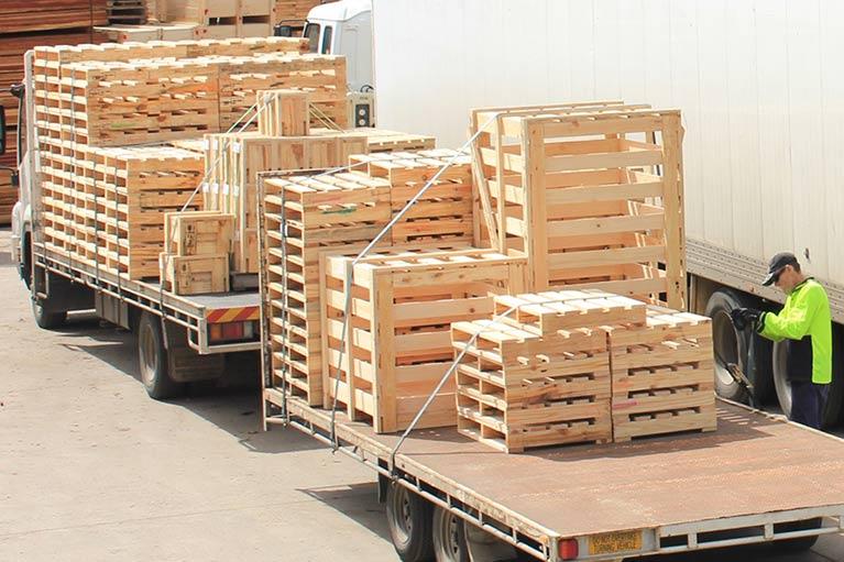 seapal pallets loaded up in truck