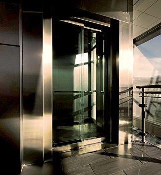glass elevator steel