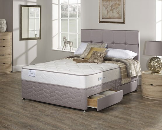 bed with mattress and storage