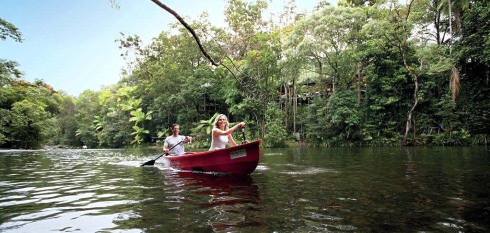 canoe sulla foresta pluviale