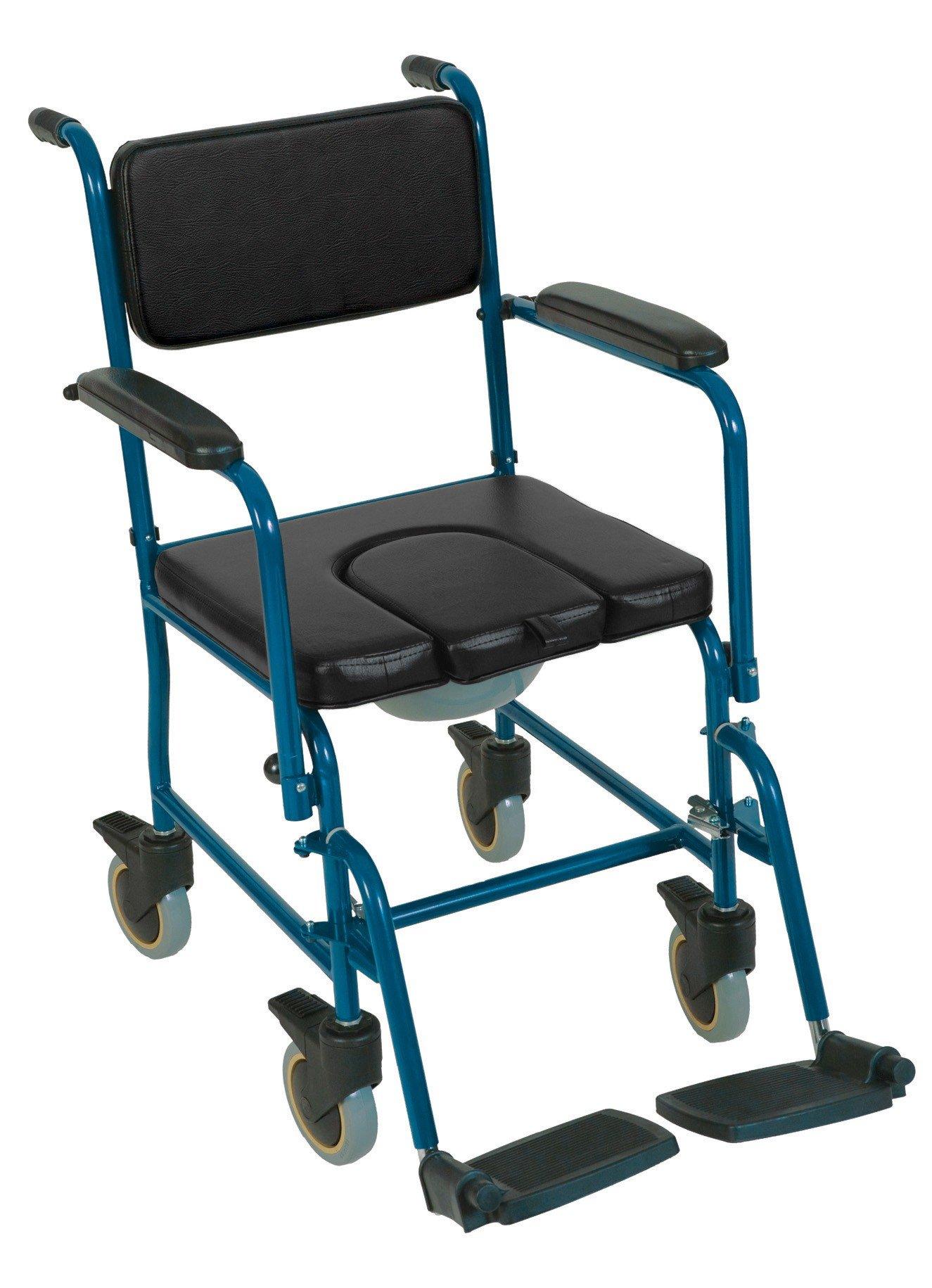 Sedia comoda con ruote e maniglia di spinta